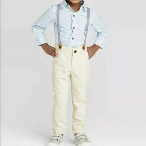 Cat Jack Shirt chino Jogger Suspenders Set Blue 3T